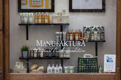 Manufaktura cosmetics shop. Window in Czech Republic stock image
