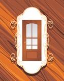 Manufatura das portas. Etiqueta decorativa Fotografia de Stock Royalty Free