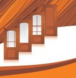 Manufatura de portas de madeira. Fundo abstrato Imagem de Stock