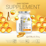 Manuka Honey dietary supplement ads. Vector Illustration with honey supplement contained in bottle and honey elements. Stock Images