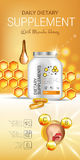 Manuka Honey dietary supplement ads. Vector Illustration with honey supplement contained in bottle and honey elements. Royalty Free Stock Photos