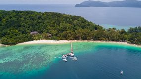 Manukan Island, Scenic tropical island panorama in Sabah, Malaysia stock image