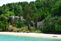 Manukan wyspy chałupy w Sabah, Malezja Zdjęcia Stock
