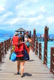 Manukan wyspy Footbridge w Sabah, Malezja Obrazy Stock