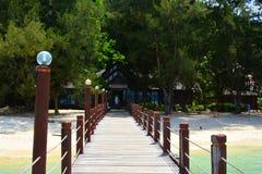 Manukan wyspy Footbridge w Sabah, Malezja Fotografia Royalty Free