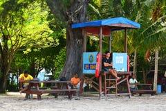 Manukan wyspy ratownika poczta w Sabah, Malezja Fotografia Royalty Free