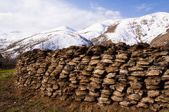 Manure. Hill by manure in village Gnishik Royalty Free Stock Photos