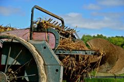 Manure Spreader Loaded. An old-time spreader box with steel wheels is loaded with manure and straw Royalty Free Stock Photo