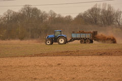 Manure spreader in use Stock Image