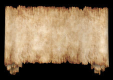 Manuscript 2 horizontal black. Old rough antique horizontal manuscript roll of parchment paper texture background isolated on black Stock Photography