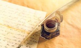 Manuscript. Aged ancient antique background calligraphy concept Stock Image