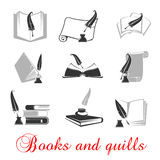 Manuscript, books with quills and ink Royalty Free Stock Photo