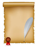 Manuscript with feather and seal wax stamp Royalty Free Stock Image