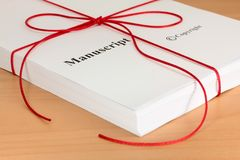 Free Manuscript From Author With Red Twine Royalty Free Stock Photography - 25782587