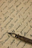Manuscript. Handwriting, old manuscript and accessories Royalty Free Stock Photography