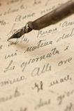 Manuscript. Handwriting, old manuscript and accessories Stock Photography