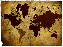 Manuscript of old map of the world Stock Photography