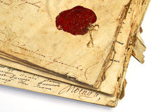 Manuscript with wax stamp royalty free stock photography