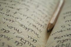Manuscript writing closeup Stock Images