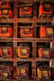 Manuscriptenfolio's in Tibetaans Boeddhistisch klooster stock afbeeldingen