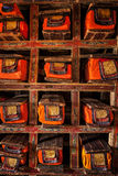 Manuscripts folios in Tibetan Buddhist monastery Stock Images