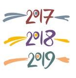2017 manuscrit, 2018, 2019 Image stock