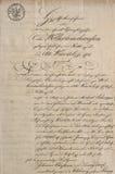 Manuscrit antique avec le texte manuscrit calligraphique Tex de papier photo stock