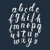 Manuscrit latin tiré par la main blanc de brosse de calligraphie des lettres minuscules Alphabet calligraphique Vecteur illustration stock