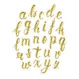 Manuscrit latin tiré par la main de brosse de calligraphie des lettres minuscules Alphabet de scintillement d'or Vecteur illustration de vecteur