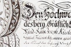 Manuscrito antigo do pergaminho imagem de stock