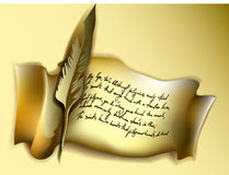 Manuscrito con la canilla Fotografía de archivo libre de regalías