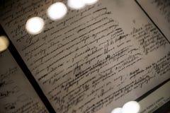 Manuscrito del ` nuevo de Anna Karenina del ` del ` s de Tolstoy - interior de Leo Tolstoy State Museum en Moscú Fotos de archivo