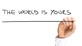 Manuscrito Underlined que el mundo es el suyo manda un SMS Fotos de archivo libres de regalías