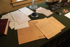 Manuscrits bien conservés d'Ulysse S.Grant sur l'affichage au cottage de Grant, New York Photo libre de droits