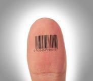 Manuseie o dedo sobre um fundo branco, código de barras Fotos de Stock Royalty Free