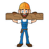 Manusje van alles Holding Wood Plank stock illustratie