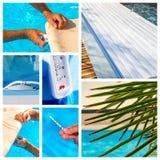 Manutenção da colagem de uma piscina privada imagem de stock royalty free