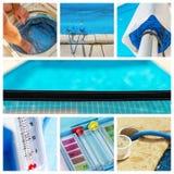 Manutenção da colagem de uma piscina privada imagens de stock royalty free