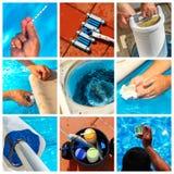 Manutenção da colagem de uma piscina privada fotos de stock royalty free