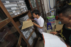 Manutenção de manuscritos antigos da herança fotografia de stock