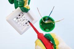 Manutenção elétrica com interruptor da luz dobro fotos de stock royalty free