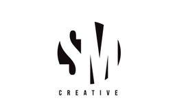 Manutenção programada S M White Letter Logo Design com fundo do círculo Imagens de Stock