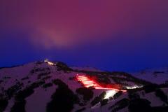 Manutenção programada Thredbo que esquia Nigh Foto de Stock