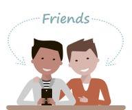 Manvänner håller ögonen på i Smartphone royaltyfri illustrationer