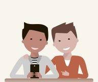 Manvänner som håller ögonen på i Smartphone vektor illustrationer