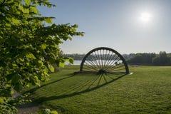 Manvers sjö Pit Head Winding Wheel Fotografering för Bildbyråer