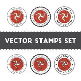 Manx flag rubber stamps set. National flags grunge stamps. Country round badges collection Royalty Free Stock Image