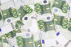 Many 100 euro banknotes Stock Photography