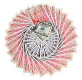 Many 50 pound sterling bank notes with 100 dollars. Many 50 pound sterling bank notes with 100 dollar fanned out, isolated on white Stock Photos