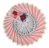 Many 50 pound sterling bank notes Stock Photos